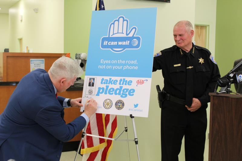 Erie County Clerk Mickey Kearns takes 'It Can Wait' Pledge