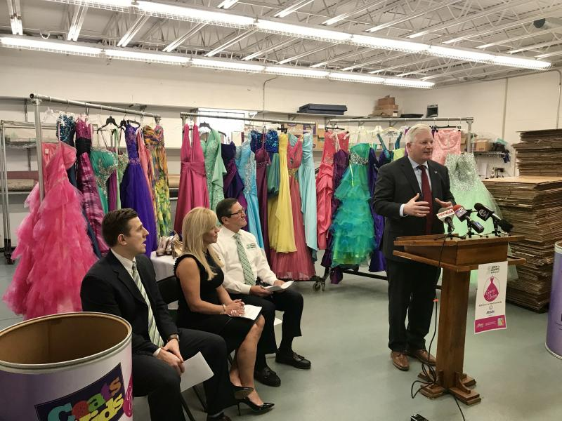 Clerk Kearns announces bins at Auto Bureaus for 'Gowns For Prom'