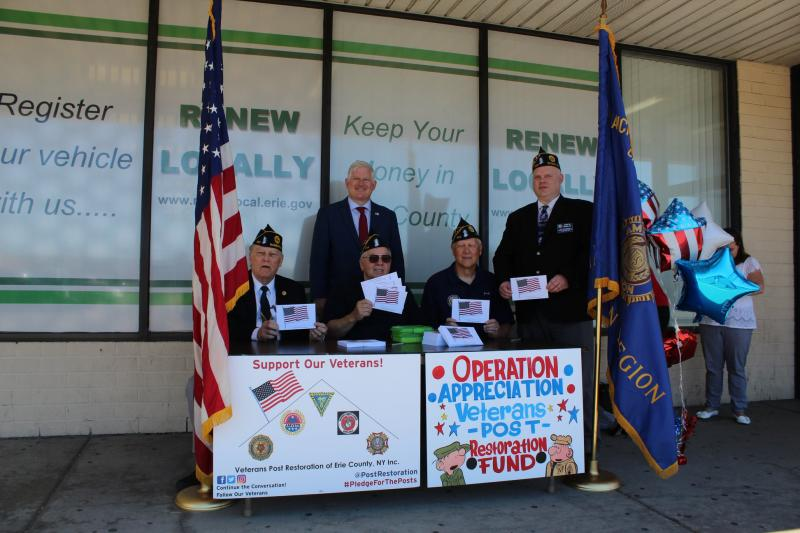 Erie County Clerk Mickey Kearns launches 'Pledge for the Posts' with local veterans.