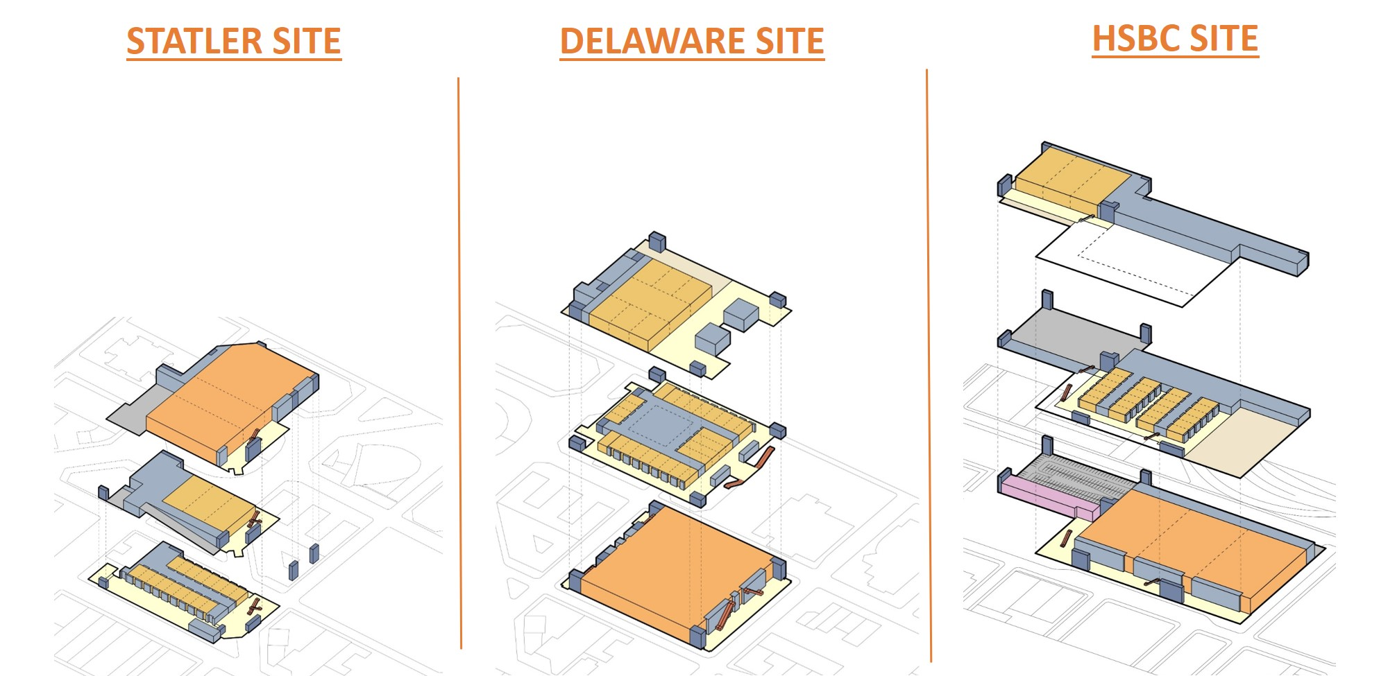 Site Layouts of the Statler, Delaware and HSBC Sites