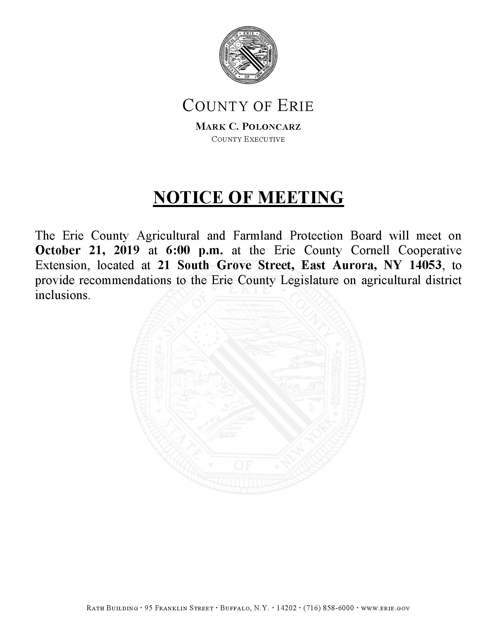 Agriculture and Farmland Protection Meeting Notice