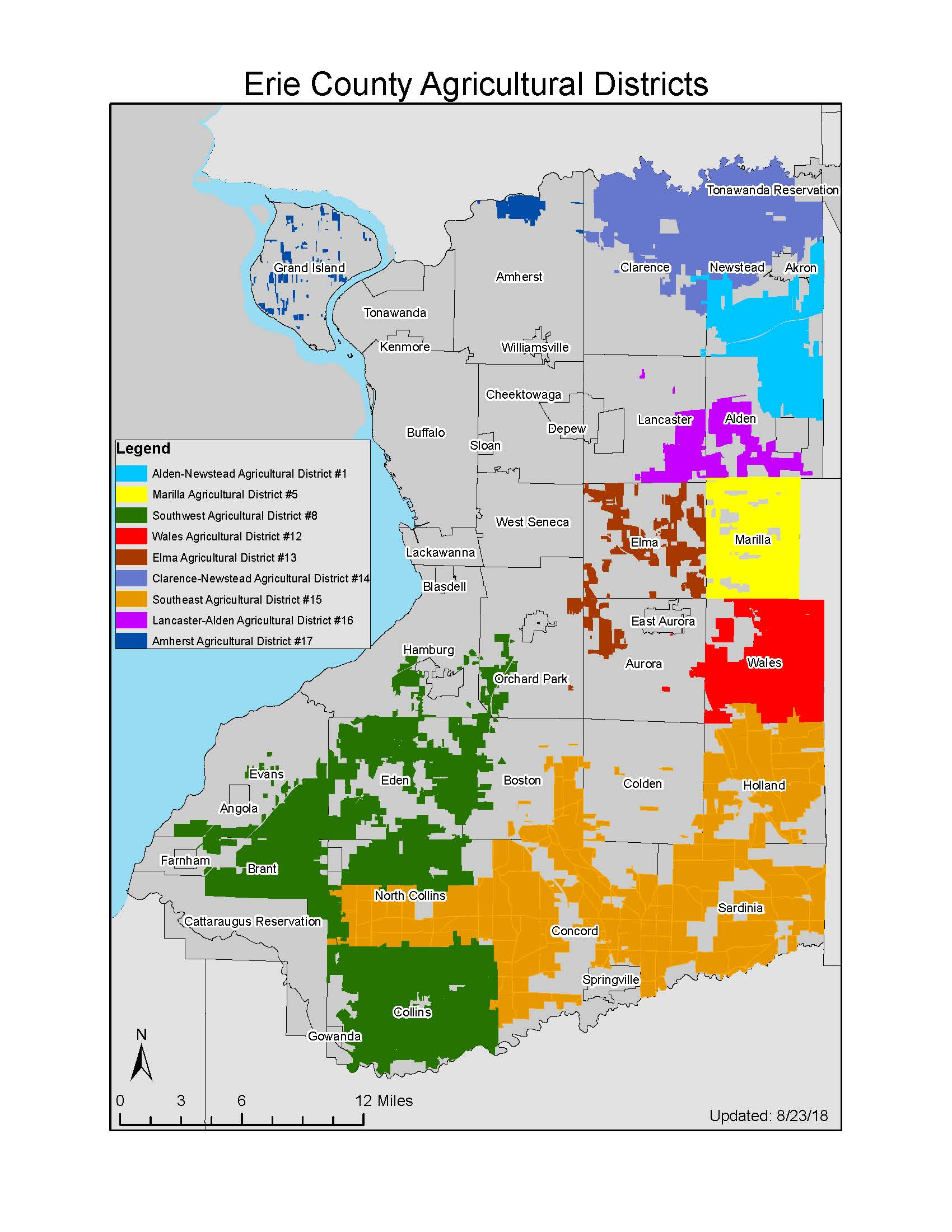 Map of All Erie County Agricultural Districts 2018