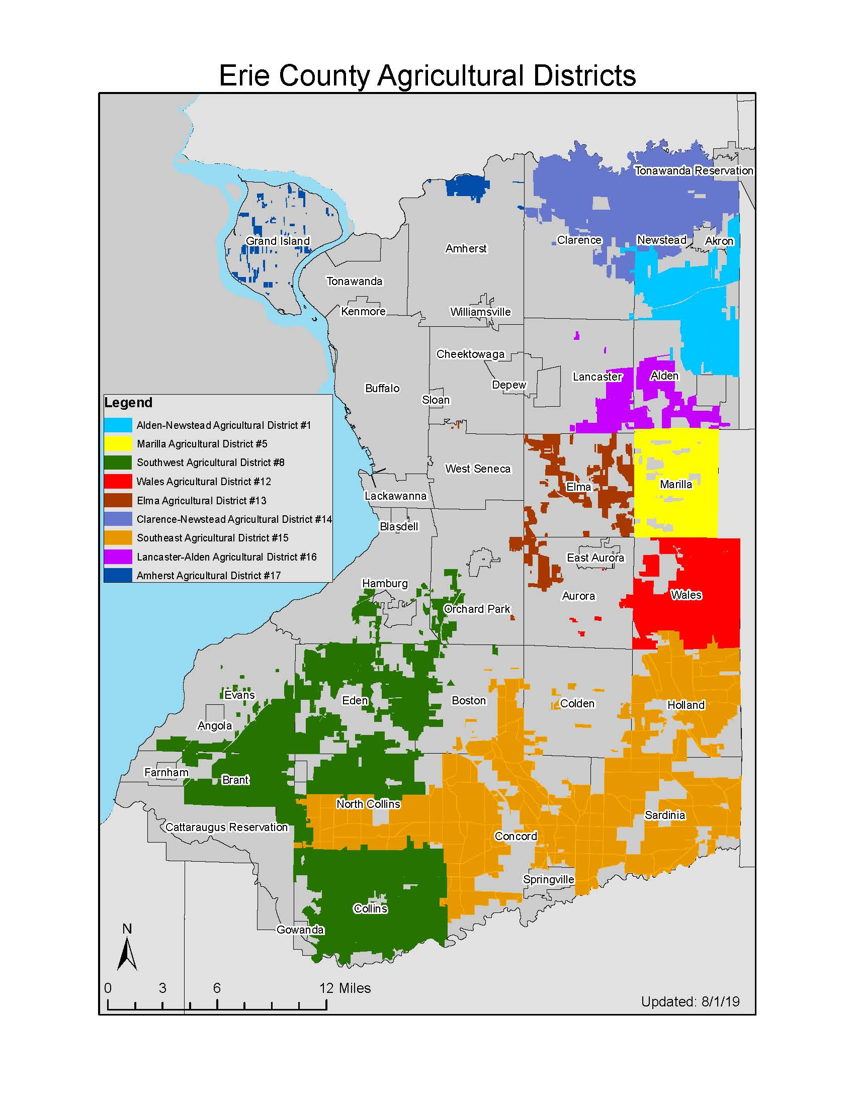 Map of All Erie County Agricultural Districts 2019