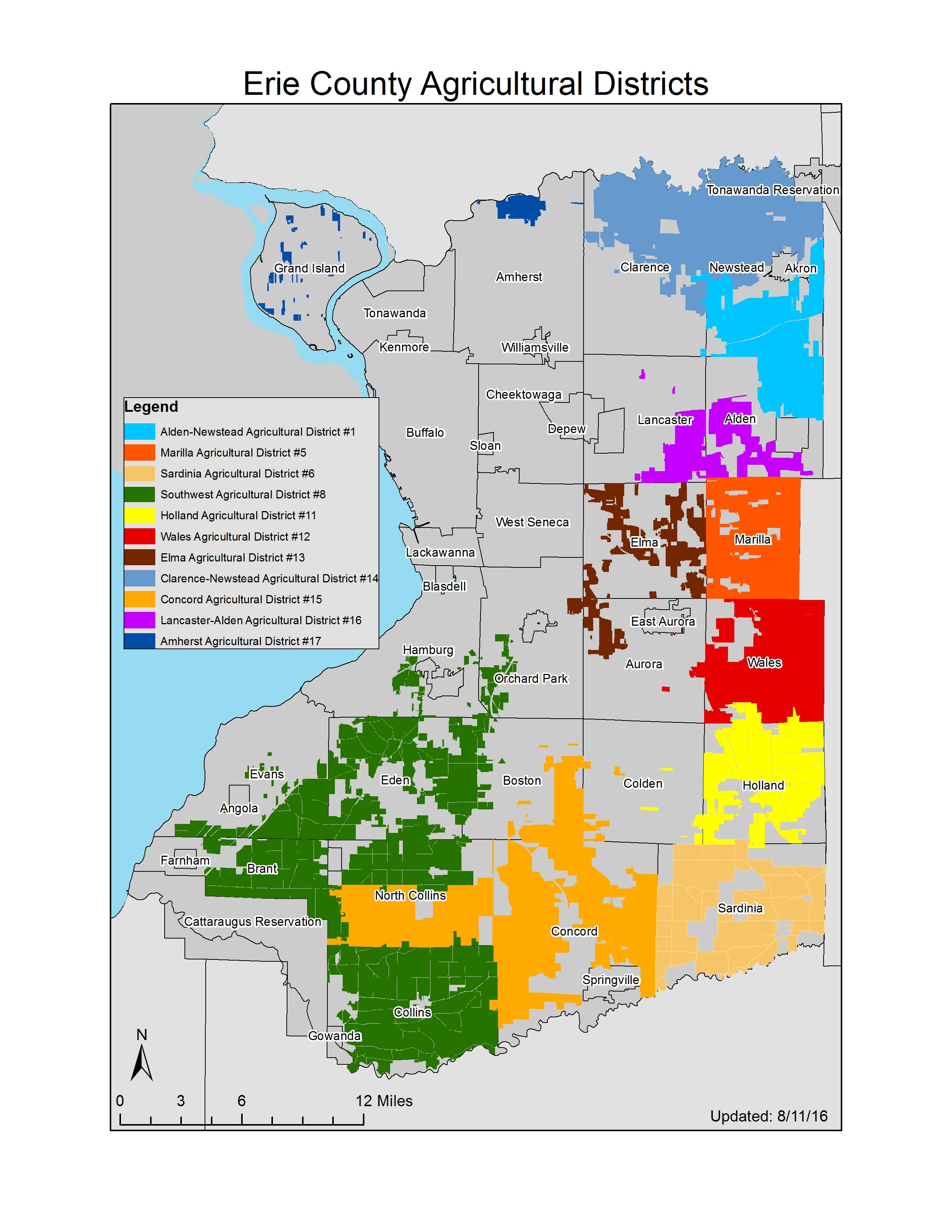 Map of All Erie County Agricultural Districts 2015