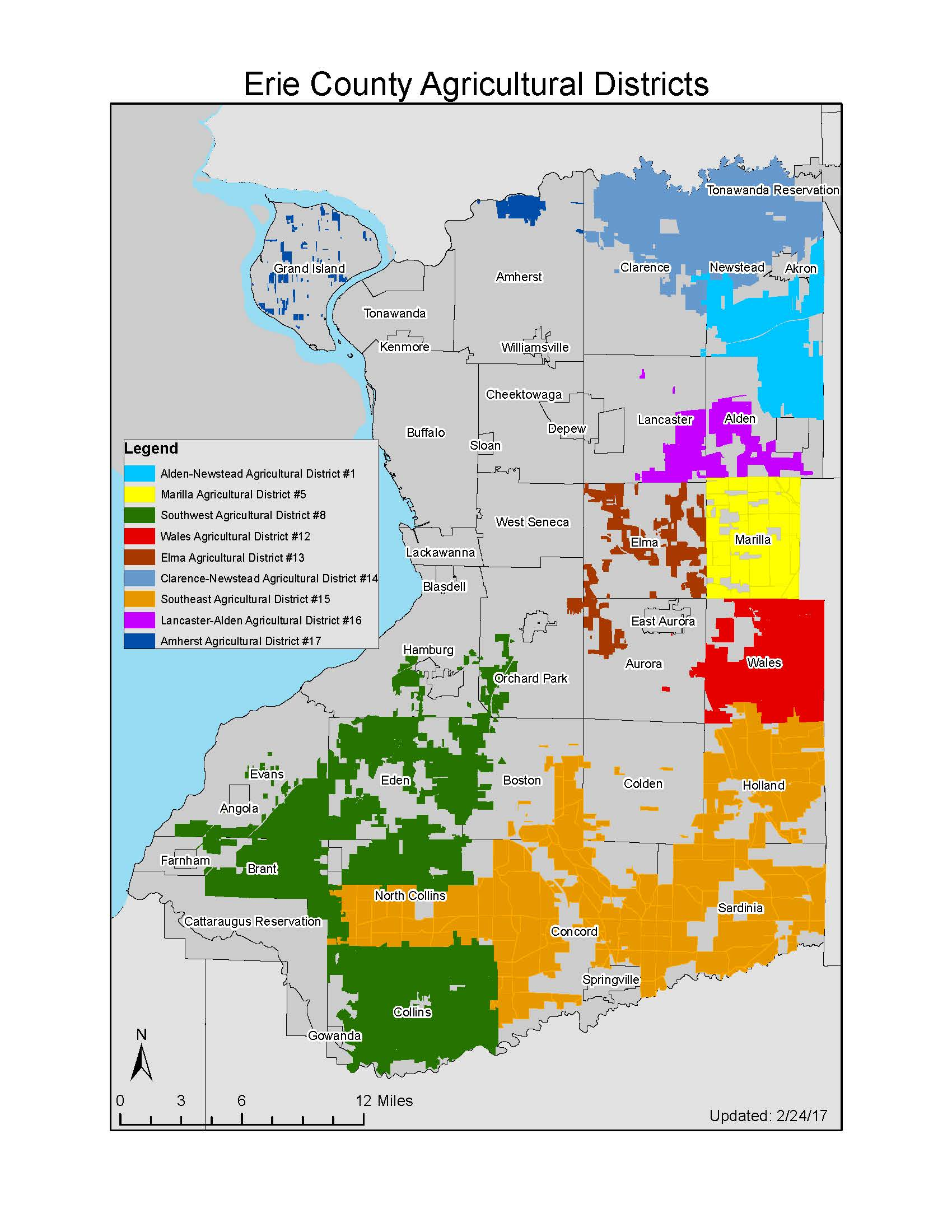Map of All Erie County Agricultural Districts 2017