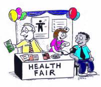 Cartoon graphic of a health fair booth