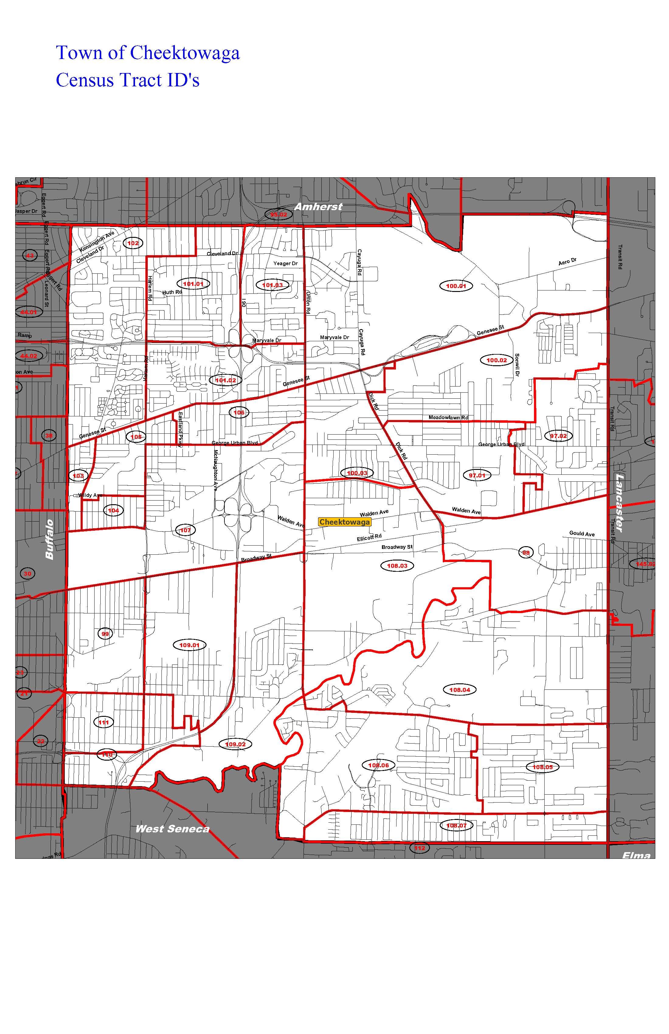 Map of Cheektowaga indicating Census Tracts Erie County Legislature