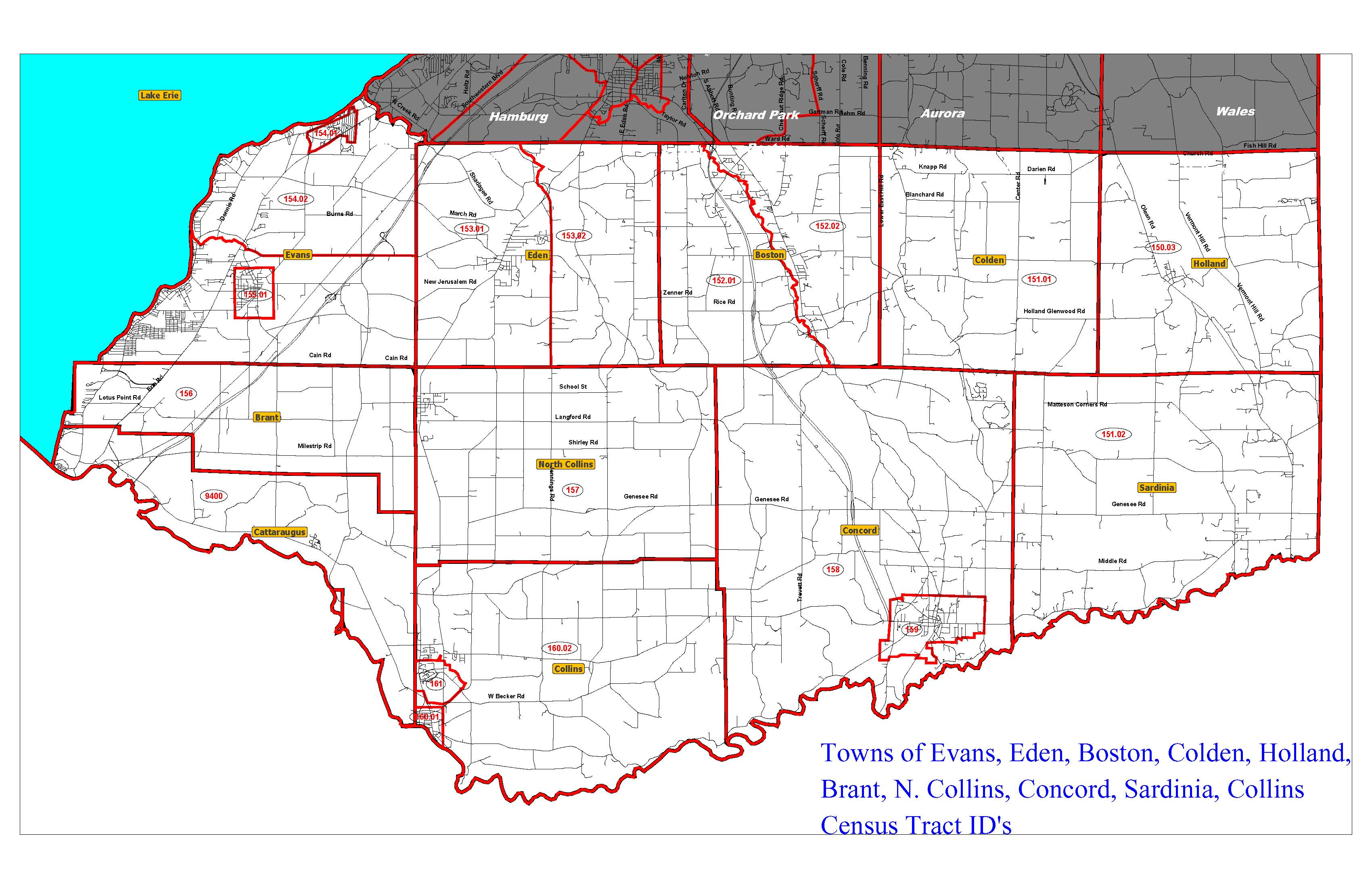 Map Of Southern Tier Towns Indicating Census Tracts Erie County - Map of southern tier of us