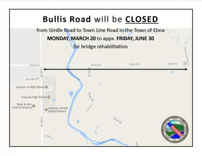 Portion of Bullis Road to be closed for 3 months