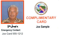 Photo of an example of a complimentary ID card