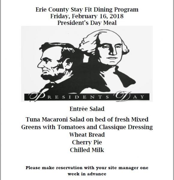 Presidents Day Lunch Menu