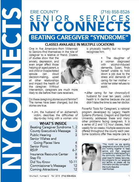 Erie County NY Connects Fall 2015 Newsletter cover