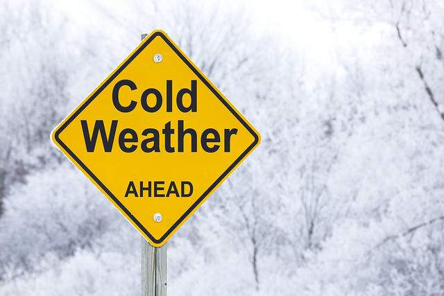 Cold Weather Ahead sign