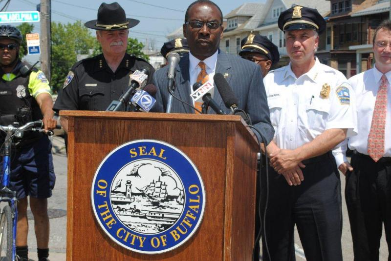 "Sheriff Tim Howard joins Buffalo Mayor Byron Brown in announcing ""Operation Riverside Renewal"""