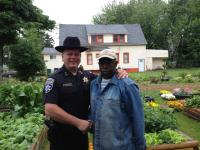 Block Club President Larry Williams thanks Undersheriff Wipperman