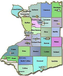 County towns and villages map