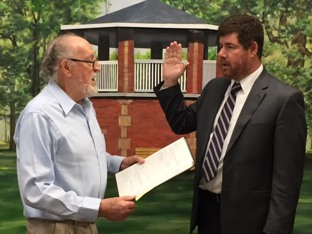 The Village of Alden would like to welcome new Acting Village Justice Michael Cole, being sworn in by Deputy Mayor Ted Mezydlo.