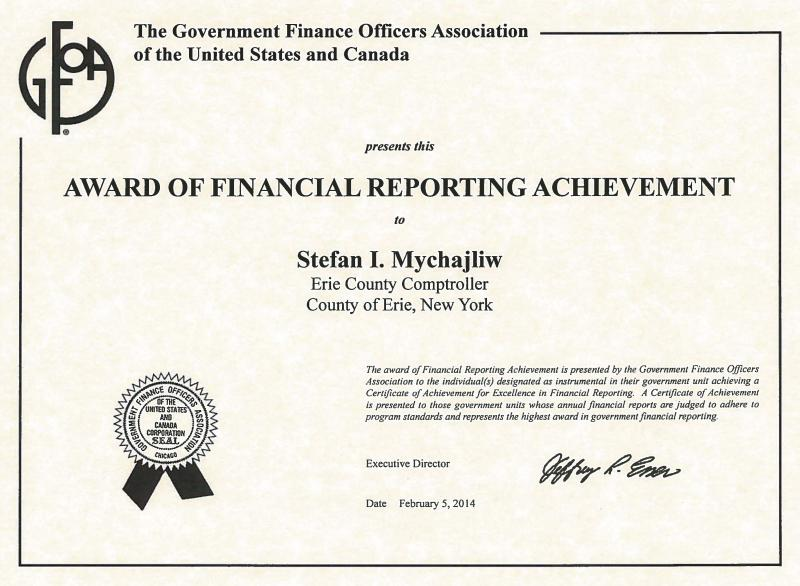 Comptroller\'s Office Honored for Excellence in Finance | Erie County ...