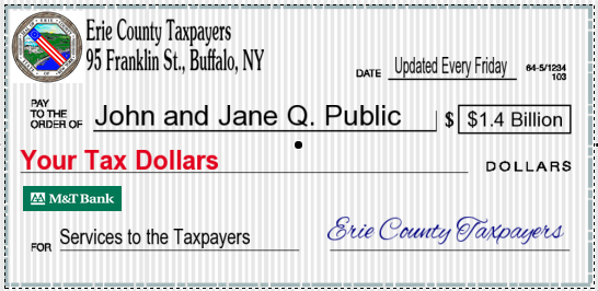 Image of a check signed by Erie County taxpayers