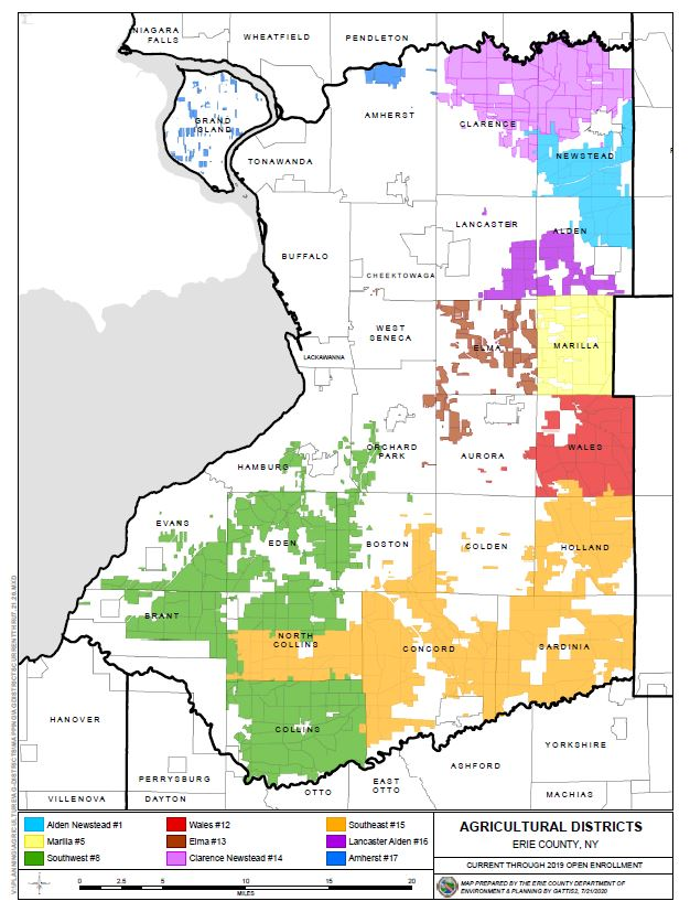Map of All Erie County Agricultural Districts 2020