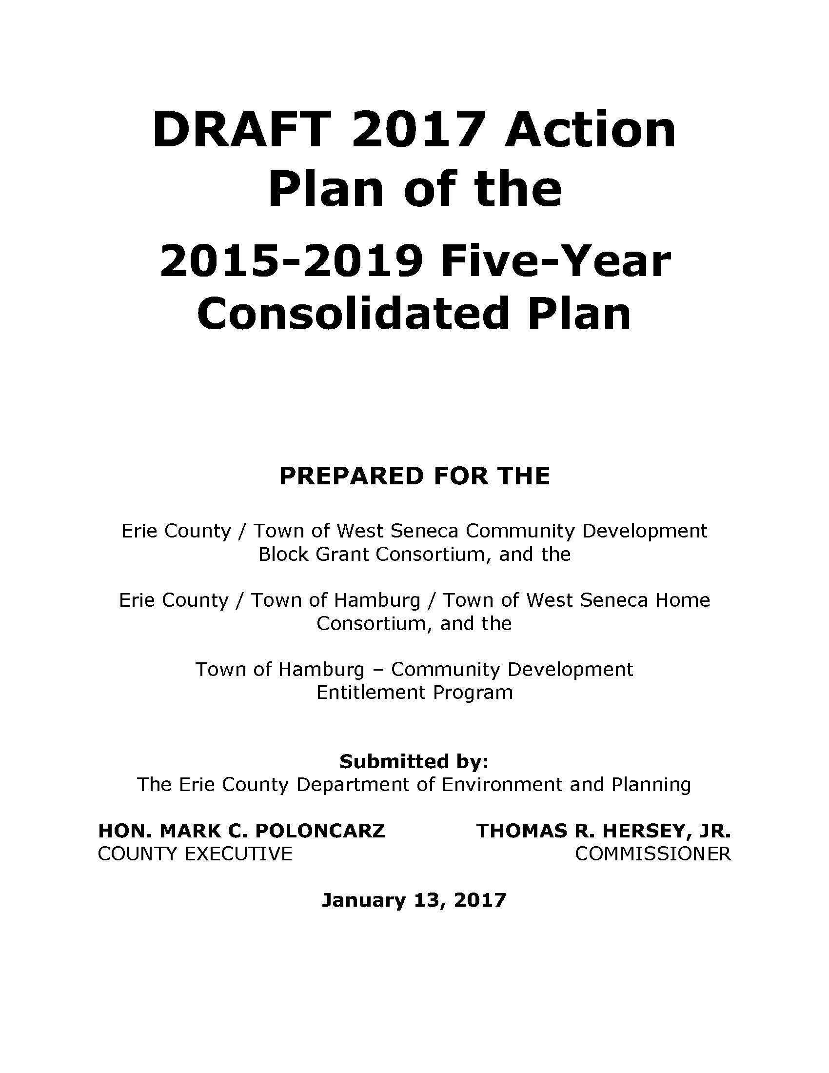 2017 Action Plan - DRAFT   Environment & Planning