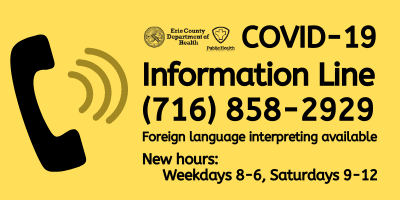COVID-19 Info line 716-858-2929 foreign language interpreting available