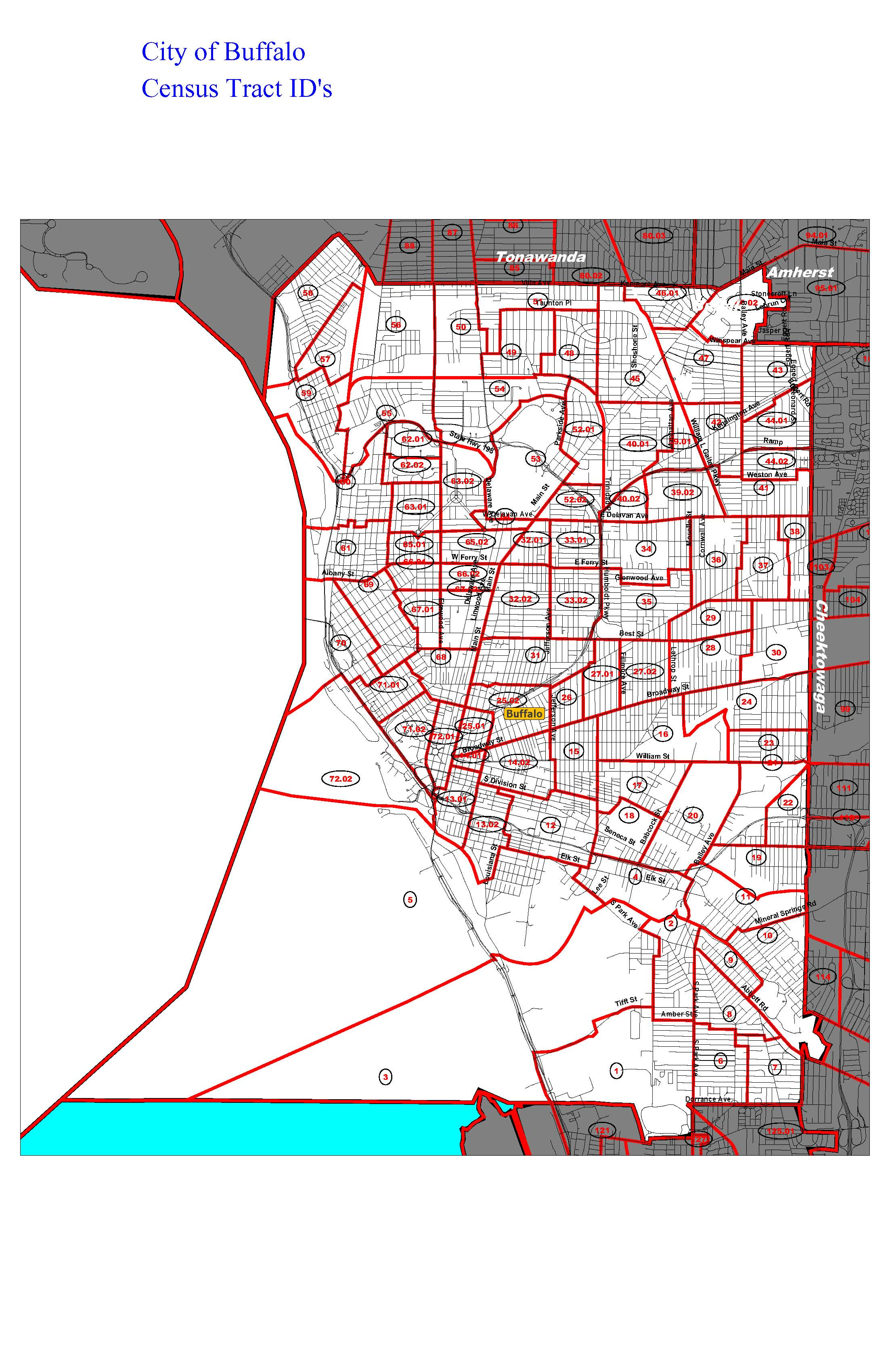 Buffalo Zip Code Map Map of City of Buffalo indicating Census Tracts | Erie County