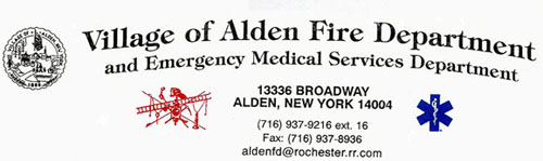 Village of Alden Fire Department and Emergency Medical Services Department. 13336 Broadway, Alden, New York 14004. (716) 937-9216 ext. 16. Fax: (716) 937-8936. aldenfd@rochester.rr.com